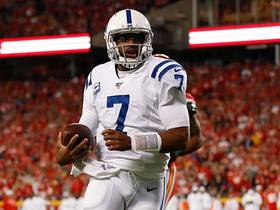 Watch: Jacoby Brissett uses pump fake to open a running lane for untouched TD