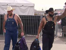 Watch: Broncos OL channel Vince Wilfork by wearing overalls pregame