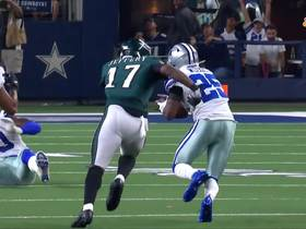Watch: Xavier Woods brings Eagles' drive to an abrupt halt with INT