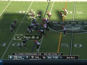 Watch: Jessie Bates reads Carr's eyes perfectly for interception