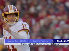Watch: Alex Smith working on football motions one year after leg surgery