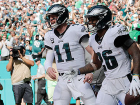 Watch: Carson Wentz finds Miles Sanders wide open on the wheel route for TD