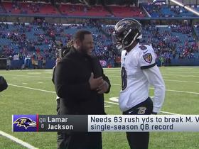 Watch: Jerome Bettis chats with Lamar Jackson before Ravens-Bills