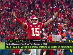 Watch: Next Gen Stats: Mahomes' Top 5 air yardage throws of 2019
