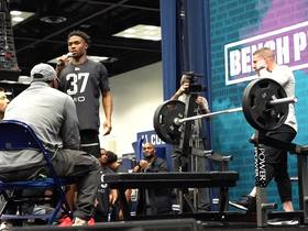 Watch: Darnell Mooney puts up 9 reps on bench press