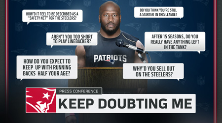 James Harrison has made a race to prove that people are wrong. From the last not selected moment to the Defensive Player of the Year, the Steelers' tiebreaker is silencing his skeptics as a Patriot.
