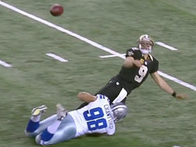 Brees barely gets ball off