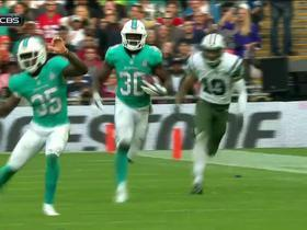 Jets Ryan Fitzpatrick pass intercepted by Dolphins Zack Bowman.
