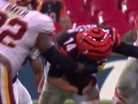 Andy Dalton fumbles, recovered by the Redskins