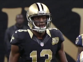 Drew Brees connects with Michael Thomas for a 35-yard catch