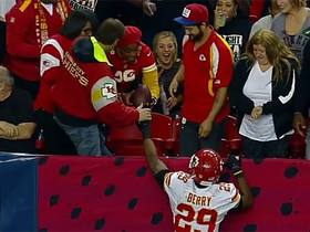 Eric Berry gives ball to his mom after a pick six
