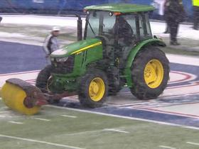 Start of half delayed in Buffalo, field swept of excess rubber pellets