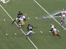Colin Kaepernick throws on the run to Aaron Burbridge for 15 yards
