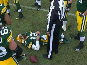 Aaron Rodgers shaken up after big sack by Vikings