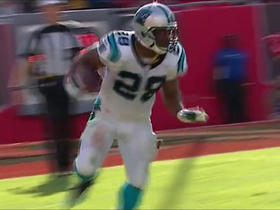 Jonathan Stewart takes on Bucs D in a one-yard loss