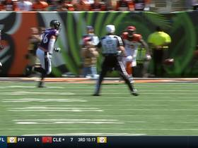 Terrell Suggs bats ball and Michael Pierce recovers for a fumble