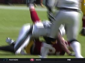 Cousins shakes off the rush, completes pass to Brian Quick