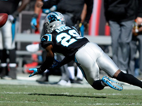 Mike Adams fumbles his diving INT, but Kuechly is there to pounce