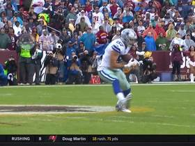 Dak Prescott passes deep to Geoff Swaim for a first down