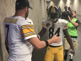 Antonio Brown and Ben Roethlisberger pump each other up before Steelers take field