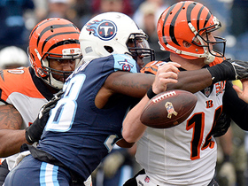 Brian Orakpo strip sacks Andy Dalton for the forced turnover