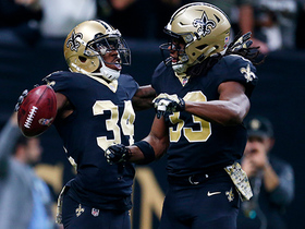 Trey Edmunds runs in the Saints' sixth rushing TD, a franchise record