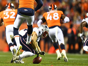 Rex Burkhead flies through to block Broncos' punt