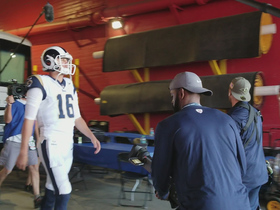 Jared Goff heads out of the tunnel into the Coliseum