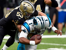 A.J. Klein goes untouched, drags Cam Newton down on 13-yard sack