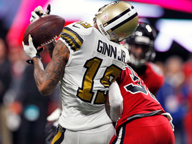 Ted Ginn somehow holds onto catch after absorbing big tackle
