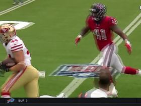Kyle Juszczyk fights down field for a strong 31 yards
