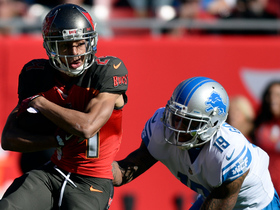 Brent Grimes climbs the ladder to pick off Matthew Stafford