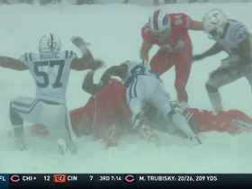 Barkevious Mingo takes down Mike Tolbert, forcing a fumble