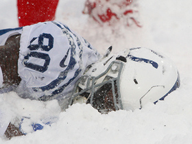 Chester Rogers crashes into snow bank in the back of the end zone