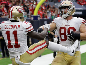 Garrett Celek finishes the drive on a 6-yard TD pass from Garoppolo