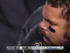 Cam Heyward gets animated on the sideline after another Ravens TD