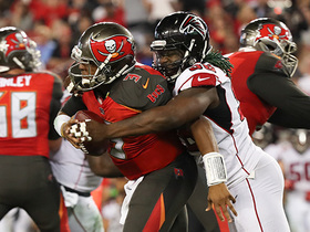 Takk McKinley strip-sacks Jameis Winston to end the first half