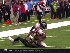 Deion Jones nearly takes interception to the house