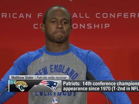 Matthew Slater rocks a 'New England vs. Everybody' T-shirt to press conference