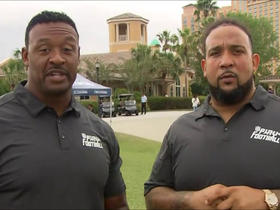 Willie McGinest and Oakland Raiders Donald Penn kick off NFL Play Football Summer Season