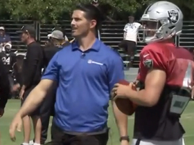 David Carr mic'd up during throwing drills with brother Derek, Raiders WRs