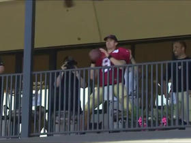 Brees attempts trick shot on basketball hoop