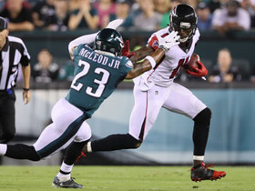 Julio Jones stiff arms Rodney McLeod to turf on big run