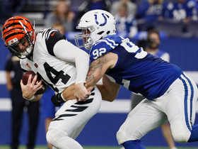 Margus Hunt bursts through line to sack former teammate Dalton