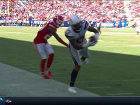 Keenan Allen stiff-arms defender for a 23-yard gain