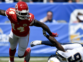 Watkins extends arms to haul in 16-yard pass