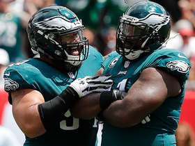 Fletcher Cox overpowers the lineman to sack Ryan Fitzpatrick