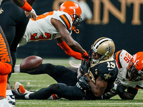 Derrick Kindred rips the ball from Ted Ginn for second Saints fumble