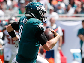 Nick Foles scrambles out of the pocket to find Josh Perkins for a big 30-yard catch
