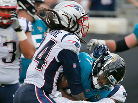 Stephon Gilmore punches out ball to force a D.J. Chark fumble